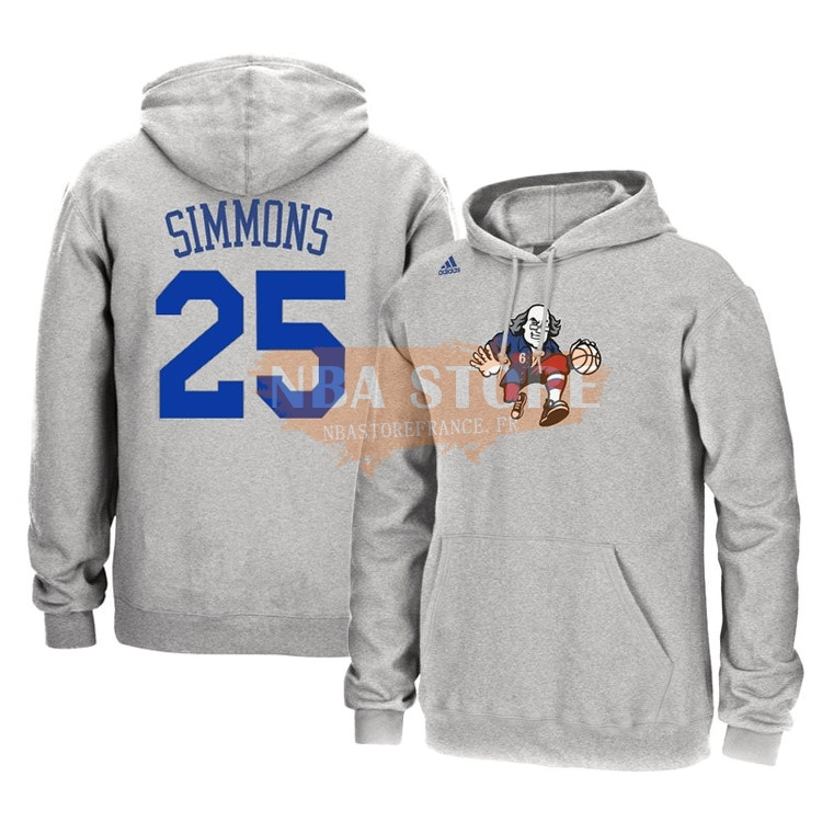 Hoodies NBA Philadelphia Sixers NO.25 Ben Simmons Gris