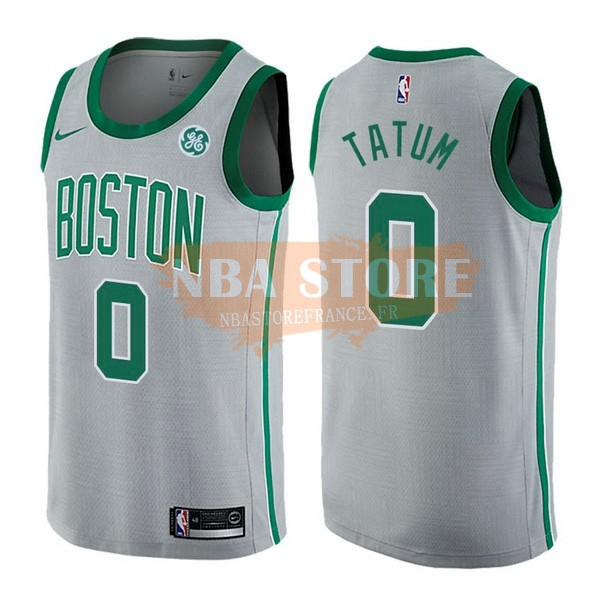 Maillot NBA Boston Celtics NO.0 Jayson Tatum Gris Ville 2017-18