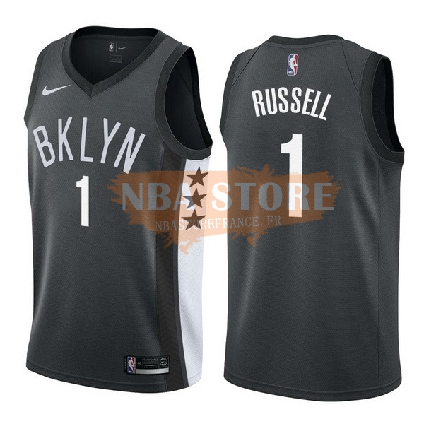 Maillot NBA Brooklyn Nets NO.1 D'Angelo Russell Noir Statement 2017-18