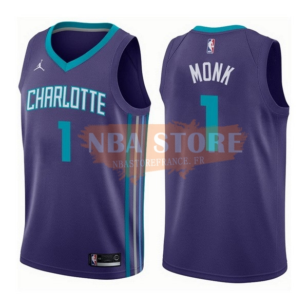 Maillot NBA Charlotte Hornets NO.1 Malik Monk Pourpre Statement 2017-18