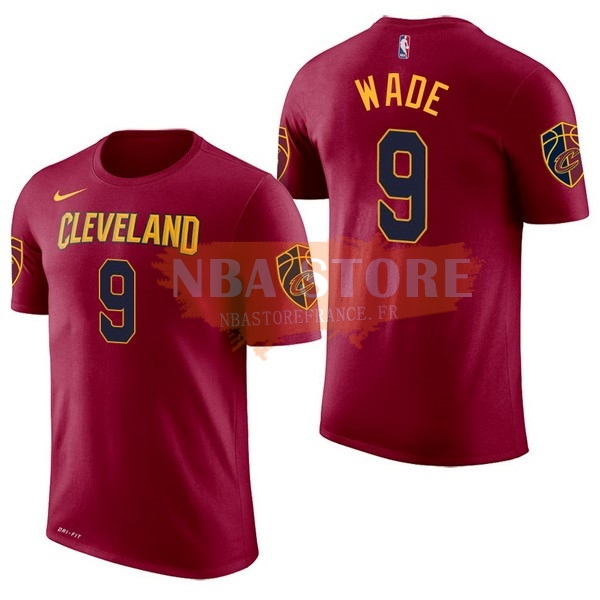 Maillot NBA Cleveland Cavaliers Manche Courte NO.9 Dwyane Wade Rouge 2017-18