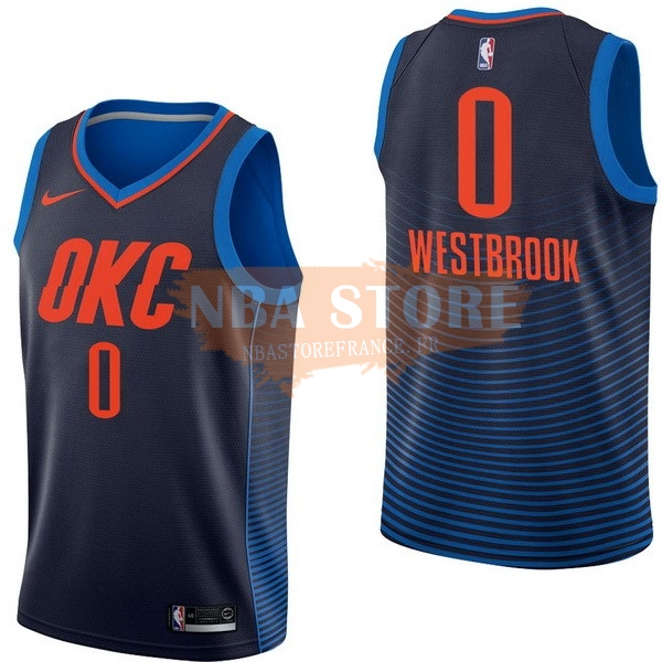 Maillot NBA Enfant Oklahoma City Thunder NO.0 Russell Westbrook Marine Statement 2017-18
