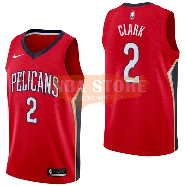 Maillot NBA New Orleans Pelicans NO.2 Ian Clark Rouge Statement 2017-18