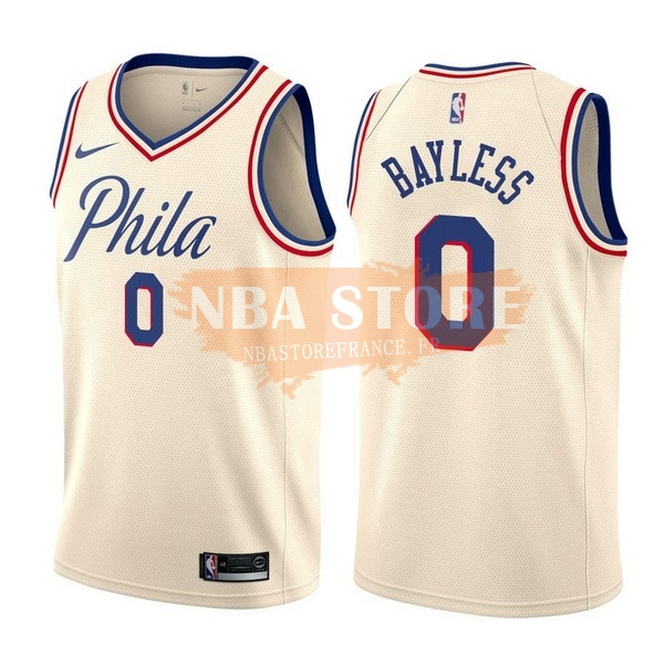 Maillot NBA Philadelphia Sixers NO.0 Jerryd Bayless Nike Crème Ville 2017-18