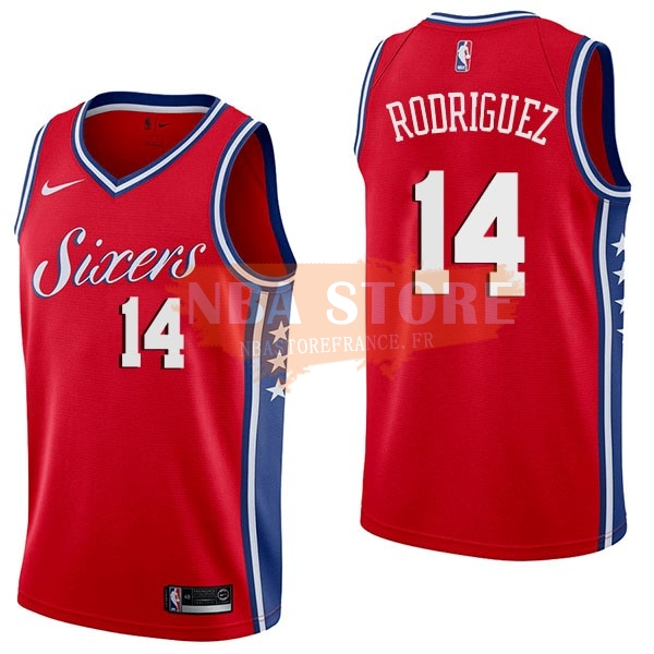 Maillot NBA Philadelphia Sixers NO.14 Sergio Rodriguez Rouge Statement 2017-18