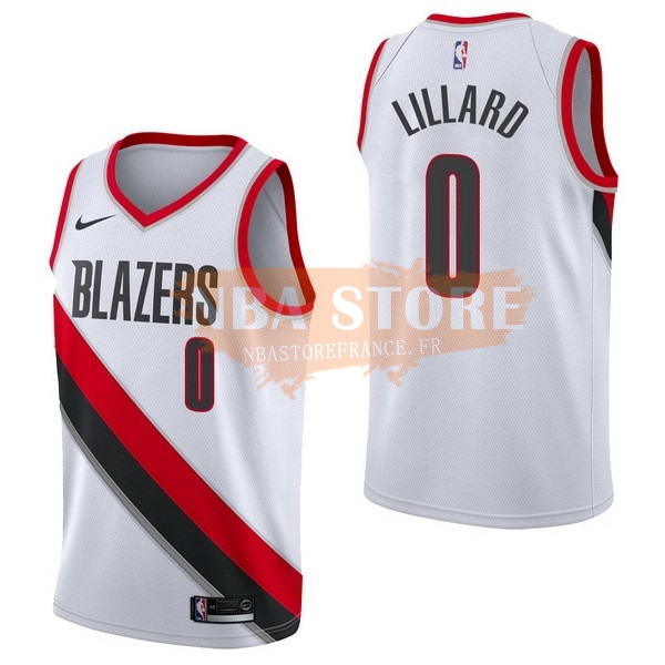 Maillot NBA Portland Trail Blazers NO.0 Damian Lillard Blanc Association 2017-18