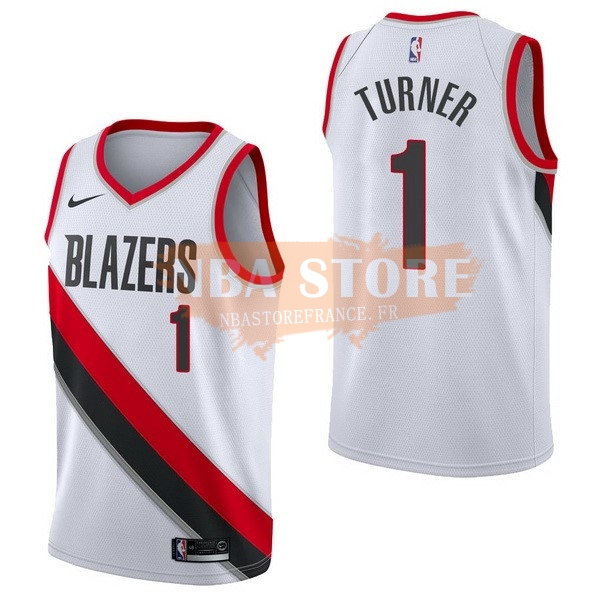 Maillot NBA Portland Trail Blazers NO.1 Evan Turner Blanc Association 2017-18