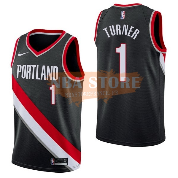 Maillot NBA Portland Trail Blazers NO.1 Evan Turner Noir Icon 2017-18