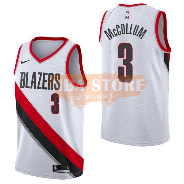 Maillot NBA Portland Trail Blazers NO.3 C.J. Mccollum Blanc Association 2017-18