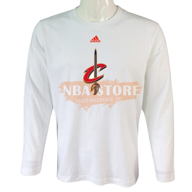 T-Shirt NBA Cleveland Cavaliers Manches Longues Blanc