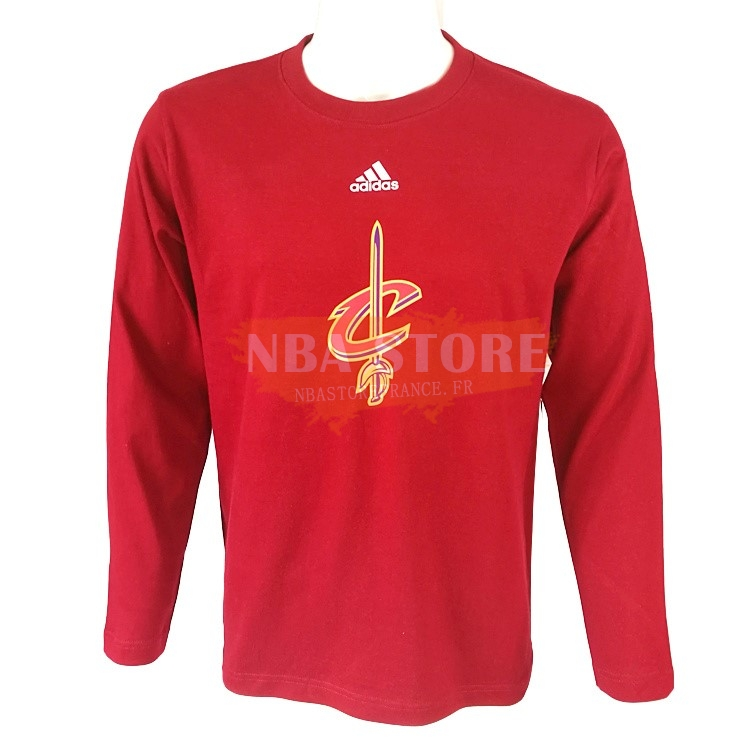 T-Shirt NBA Cleveland Cavaliers Manches Longues Rouge