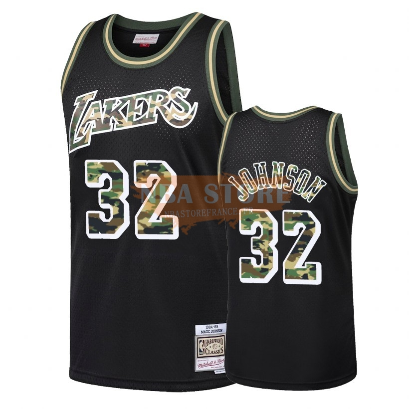 Maillot NBA Camo Feu Droit Los Angeles Lakers NO.32 Earvin Johnson Noir 2018