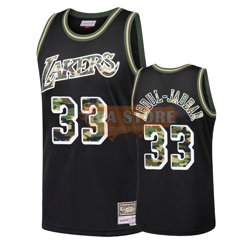 Maillot NBA Camo Feu Droit Los Angeles Lakers NO.33 Kareem Abdul Jabbar Noir 2018