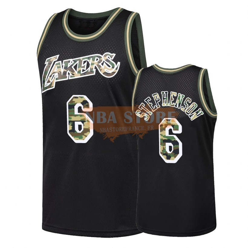 Maillot NBA Camo Feu Droit Los Angeles Lakers NO.6 Lance Stephenson Noir 2018