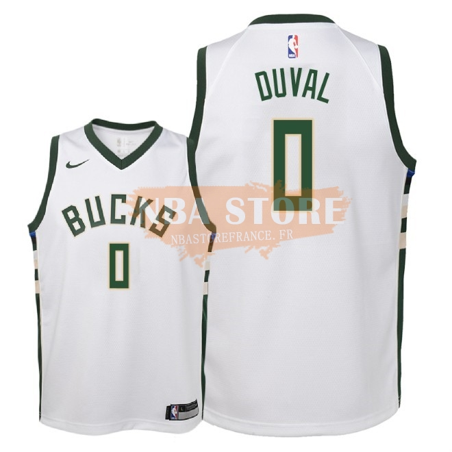 Maillot NBA Enfant Milwaukee Bucks NO.0 Trevon Duval Blanc Association 2018-19