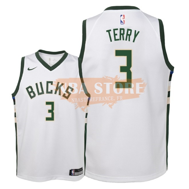 Maillot NBA Enfant Milwaukee Bucks NO.3 Jason Terry Blanc Association 2018