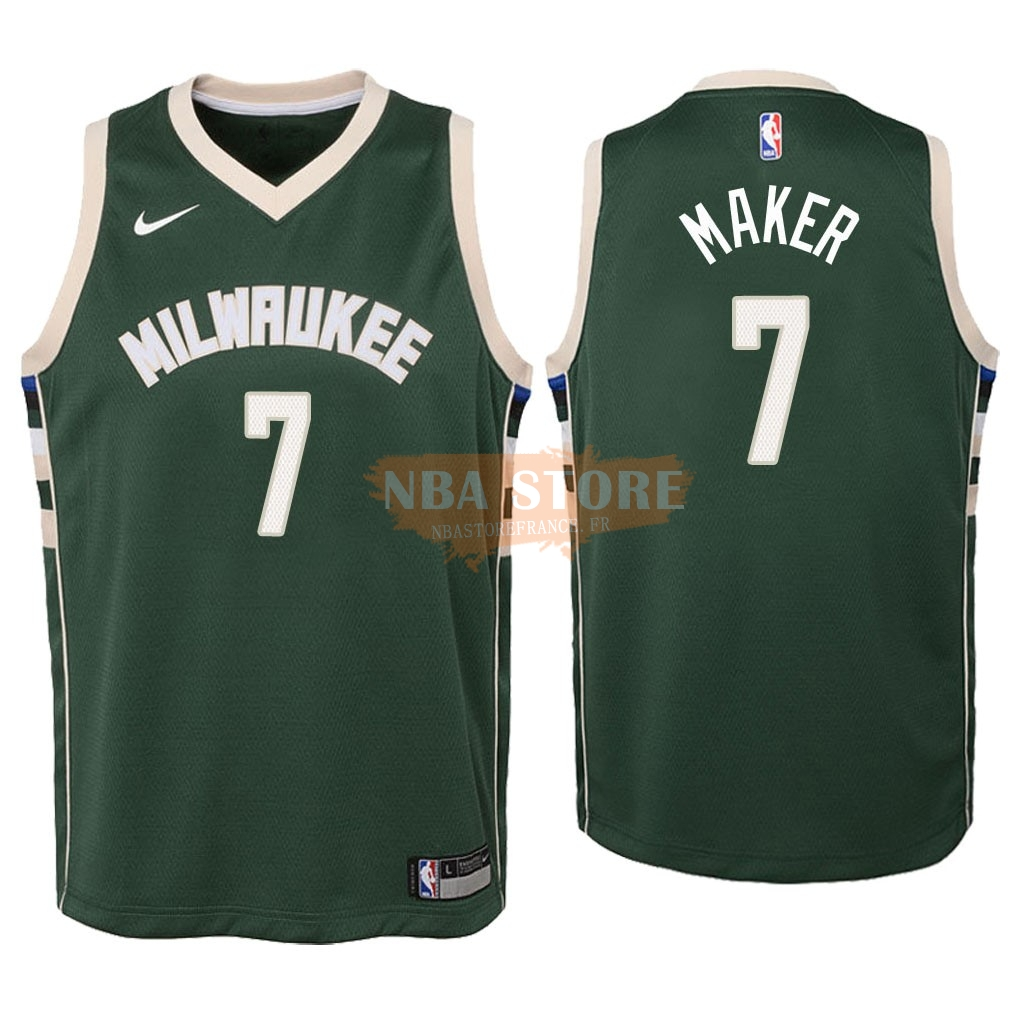 Maillot NBA Enfant Milwaukee Bucks NO.7 Thon Maker Vert Icon 2018