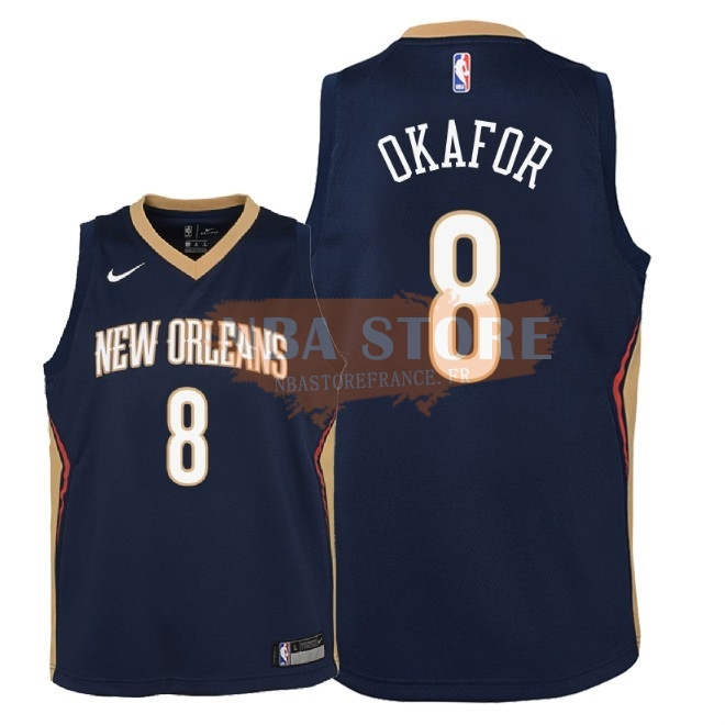 Maillot NBA Enfant New Orleans Pelicans NO.8 Jahlil Okafor Marine Icon 2018