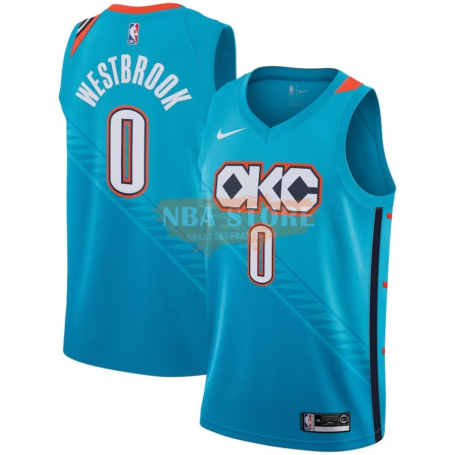 Maillot NBA Enfant Oklahoma City Thunder NO.0 Russell Westbrook Nike Turquoise Ville 2018-19