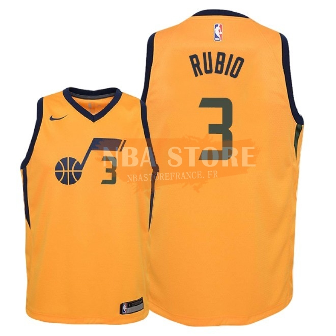Maillot NBA Enfant Utah Jazz NO.3 Ricky Rubio Jaune Statement 2018