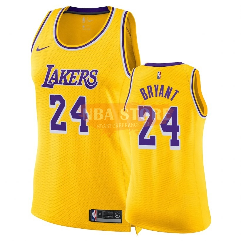 Maillot NBA Femme Los Angeles Lakers NO.24 Kobe Bryant Jaune Icon 2018-19
