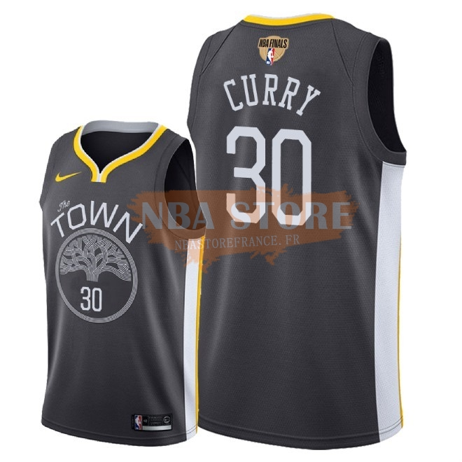 Maillot NBA Golden State Warriors 2018 Final Champions NO.30 Stephen Curry Noir Statement Patch