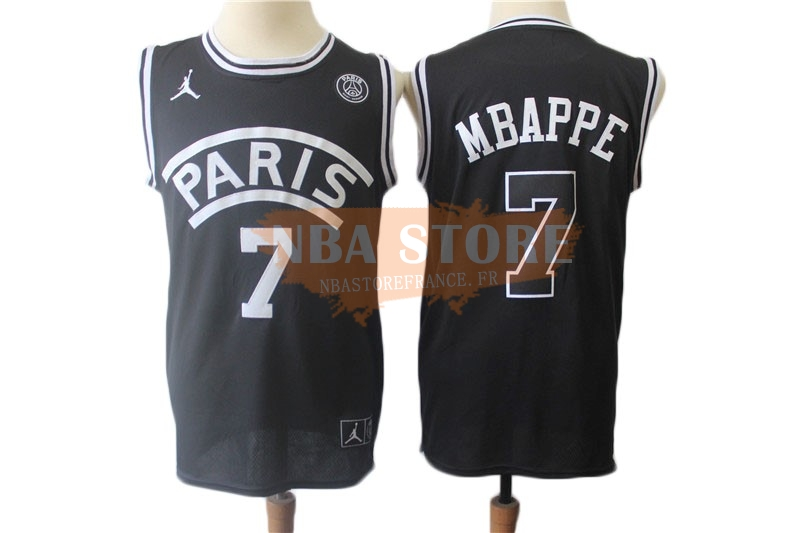 Maillot NBA Jordan X Paris Saint-Germain NO.7 Kylian Mbappe Noir 2018