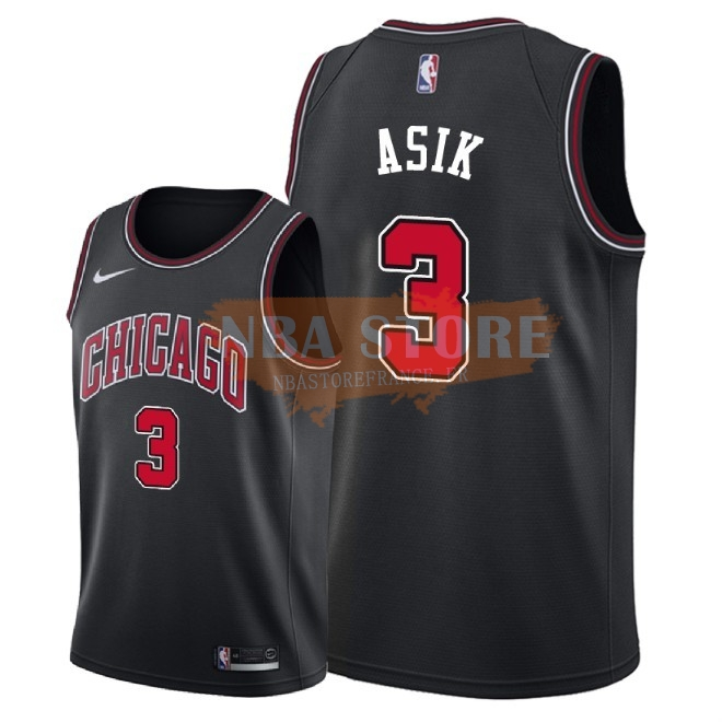 Maillot NBA Nike Chicago Bulls NO.3 Omer Asik Noir Statement 2018