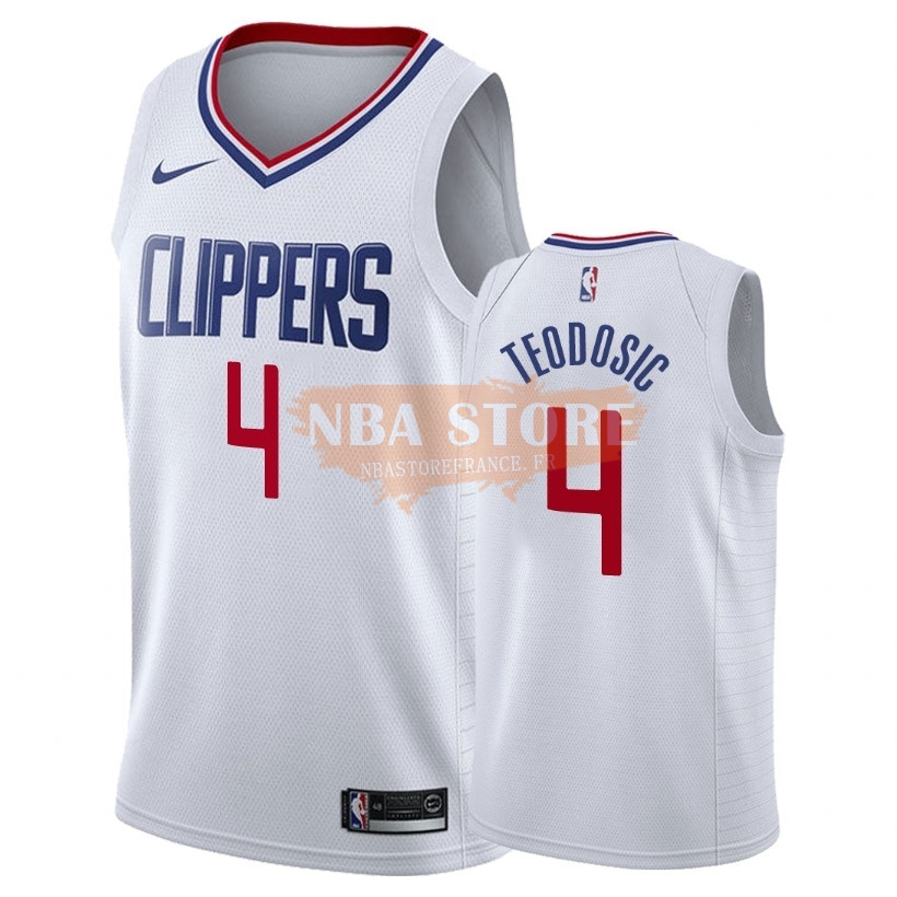 Maillot NBA Nike Los Angeles Clippers NO.4 Milos Teodisic Blanc Association 2018