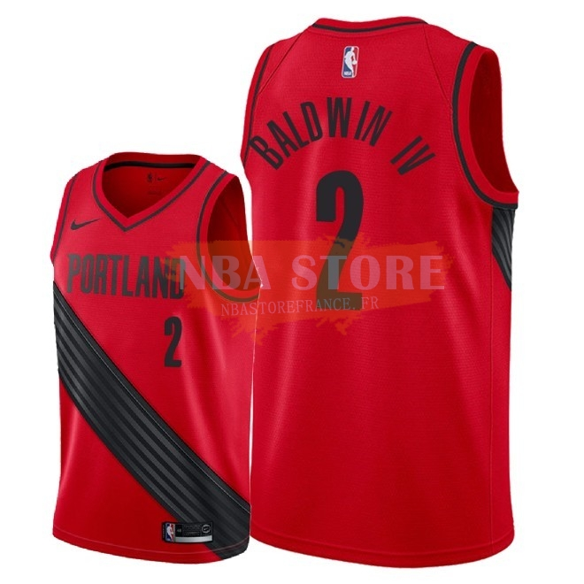 Maillot NBA Nike Portland Trail Blazers NO.2 Wade Baldwin Iv Rouge Statement 2018