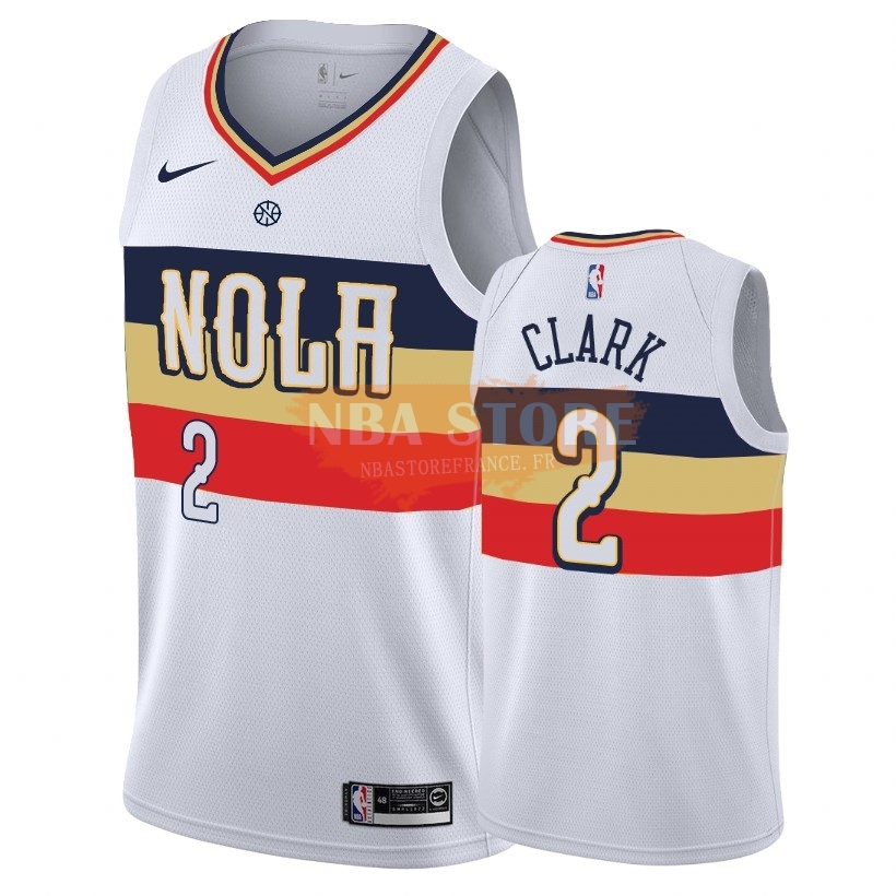 Maillot NBA Earned Edition New Orleans Pelicans NO.2 Ian Clark Blanc 2018-19