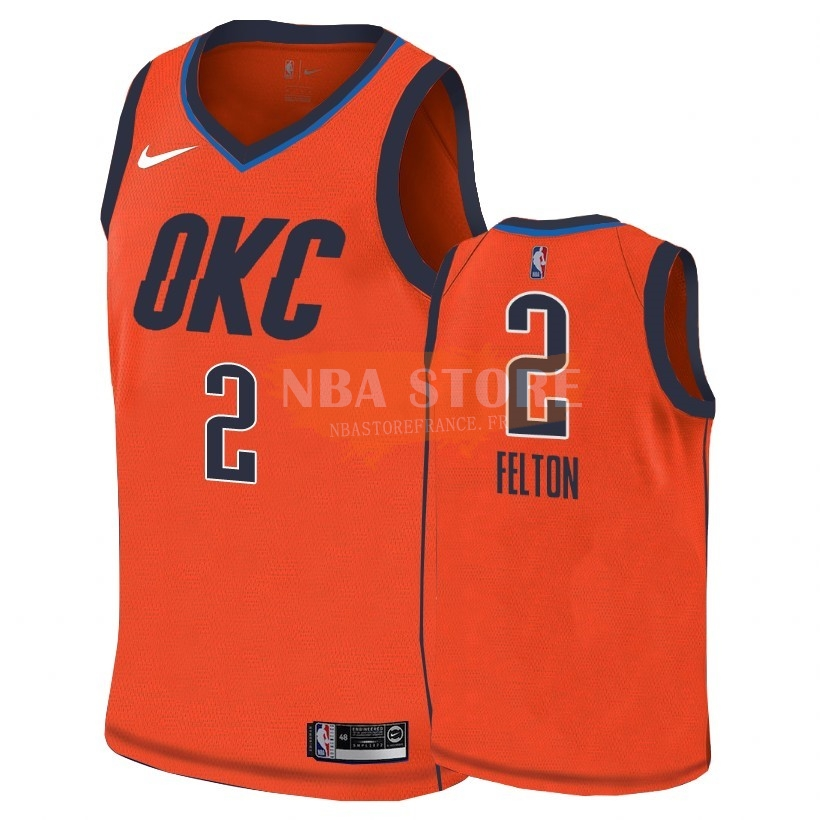 Maillot NBA Earned Edition Oklahoma City Thunder NO.2 Raymond Felton Orange 2018-19