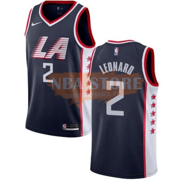 Maillot NBA Nike Los Angeles Clippers NO.2 Kawhi Leonard Marine Ville 2019-20