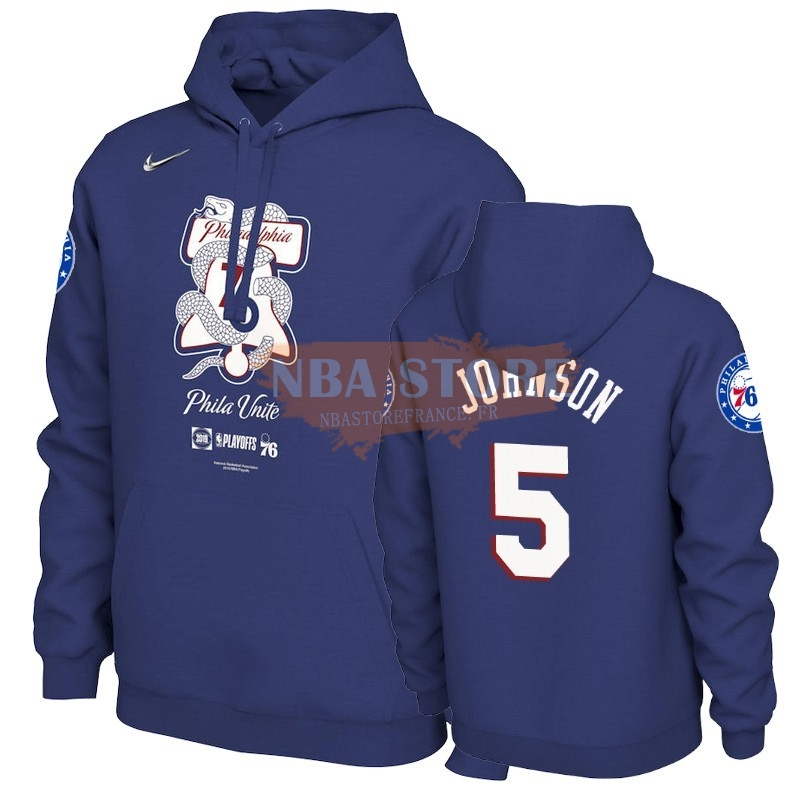 Hoodies NBA Philadephia 76ers NO.5 Amir Johnson Bleu