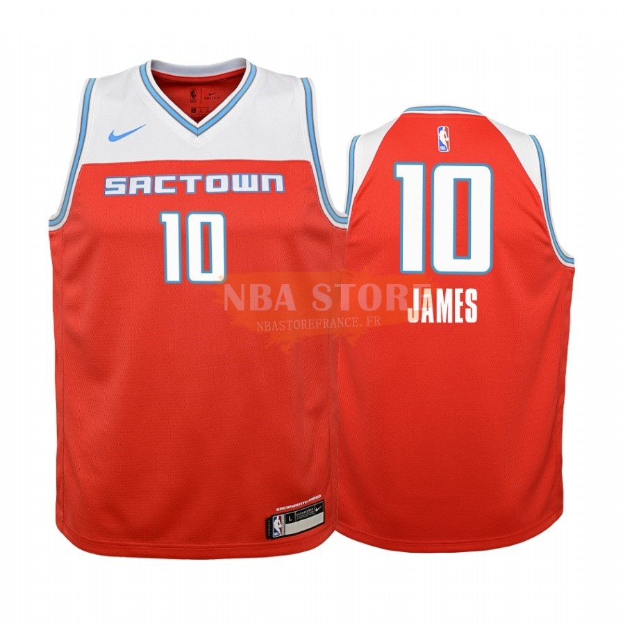 Maillot NBA Enfant Sacramento Kings NO.10 Justin James Nike Rouge Ville 2019-20