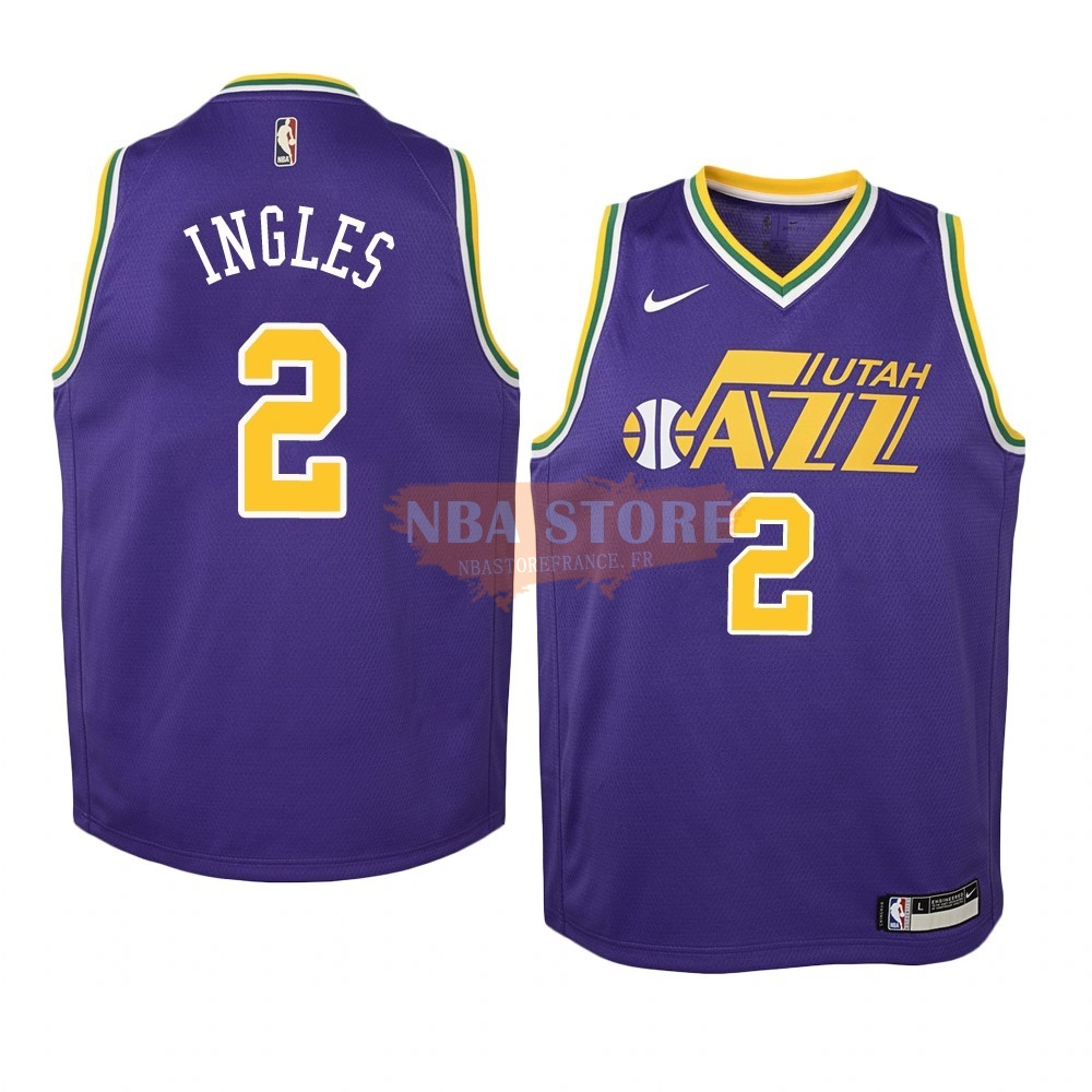 Maillot NBA Enfant Utah Jazz NO.2 Joe Ingles Pourpre Hardwood Classics