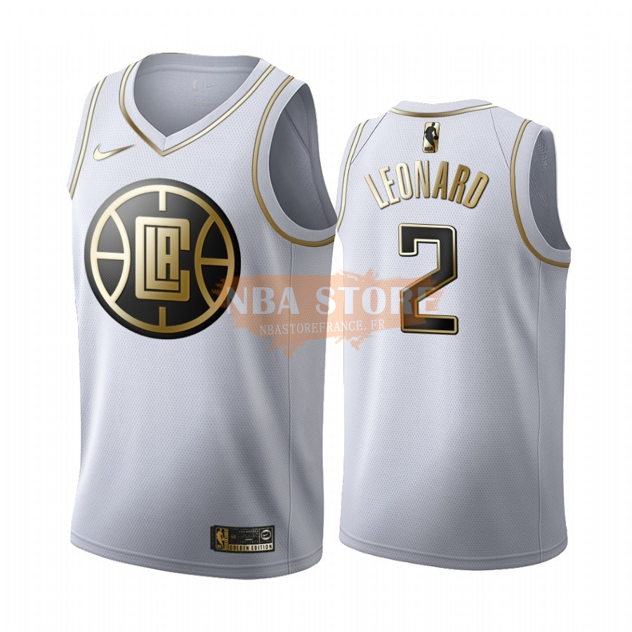 Maillot NBA Nike Los Angeles Clippers NO.2 Kawhi Leonard Blanc Or 2019-20