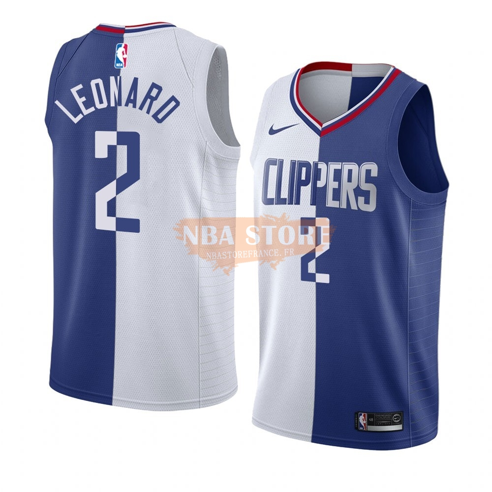 Maillot NBA Nike Los Angeles Clippers NO.2 Kawhi Leonard Bleu Blanc Split Edition