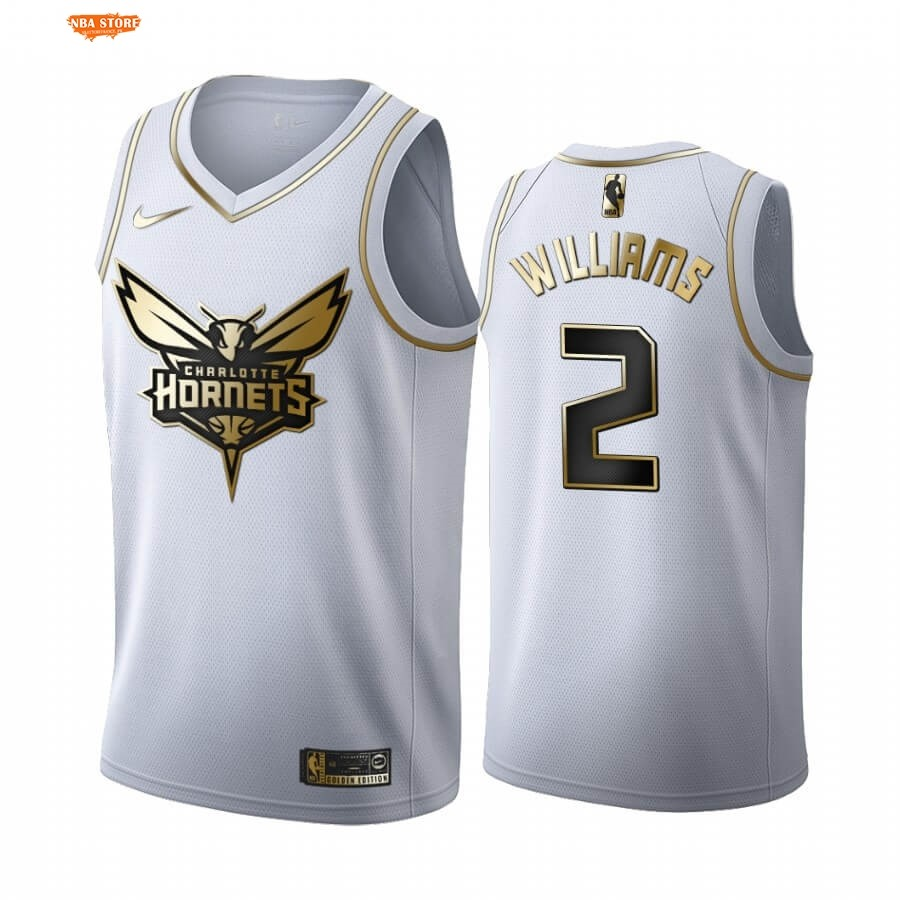 Maillot NBA Charlotte Hornets NO.2 Marvin Williams Blanc Or 2019-20