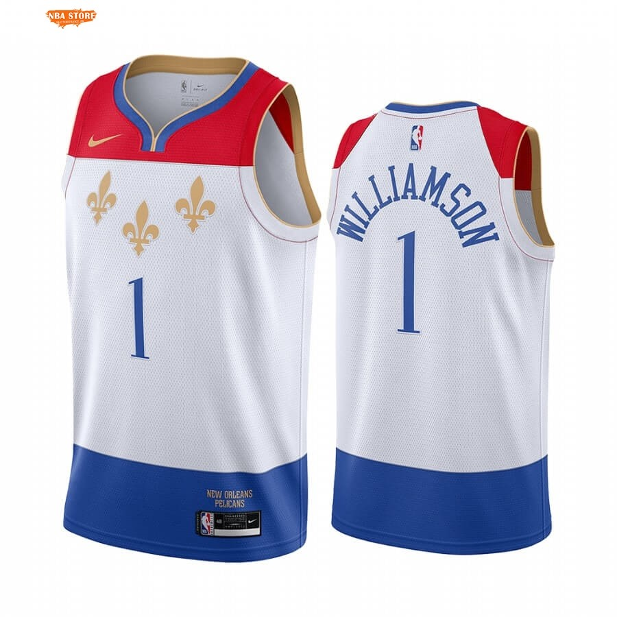 Maillot NBA New Orleans Pelicans NO.1 Zion Williamson Blanc Ville 2020-21