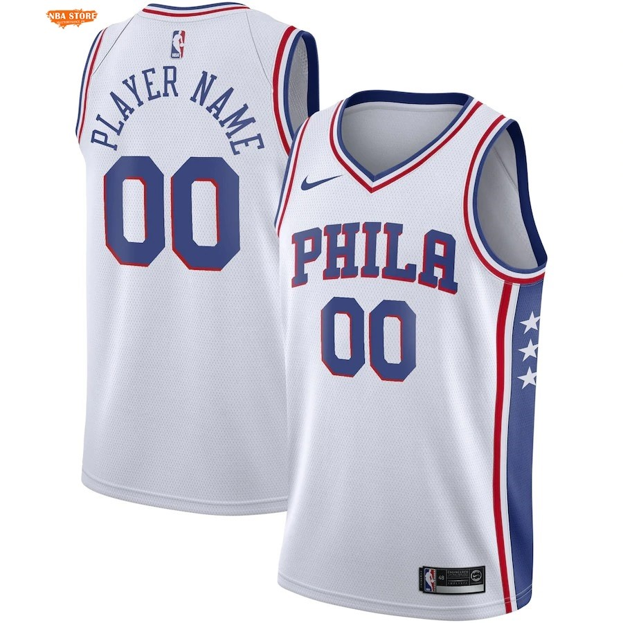 Maillot NBA Philadelphia Sixers NO.00 Personnalisé Blanc Association 2019-20