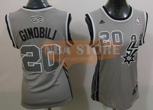 Maillot NBA Femme 2013 Static Fashion NO.20 Manu Ginóbili Gris