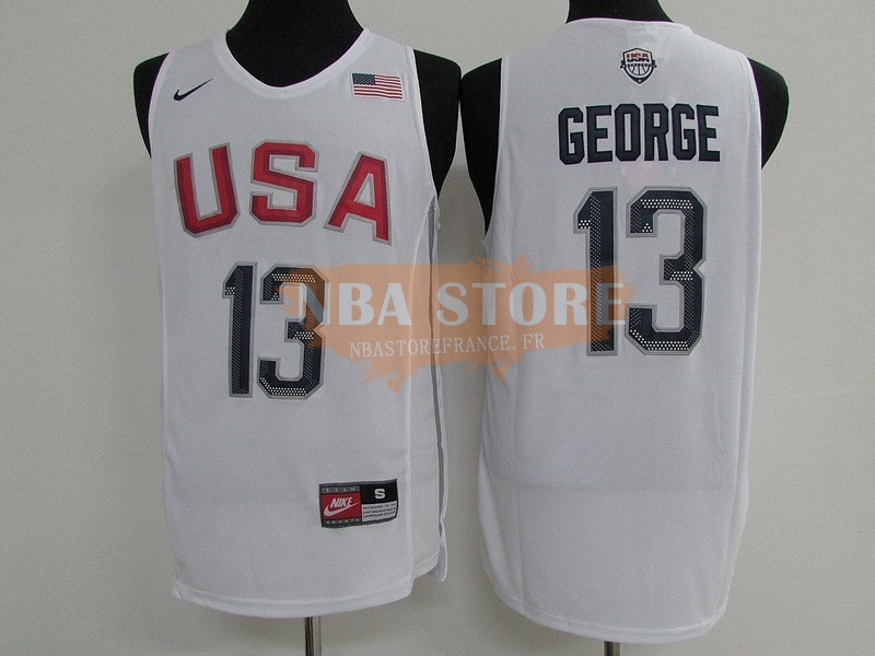 Maillot 2016 USA NO.13 Paul George Blanc