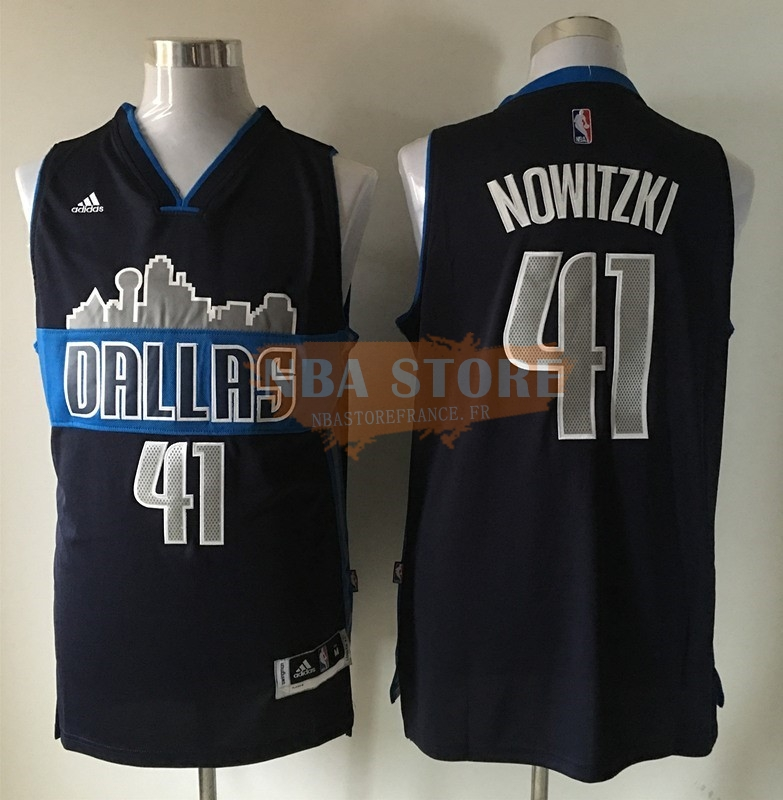Maillot NBA Dallas Mavericks NO.41 Dirk Nowitzki Noir