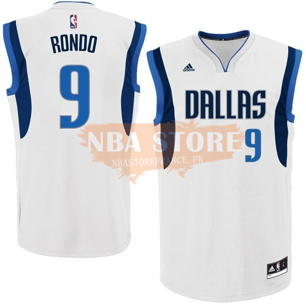 Maillot NBA Dallas Mavericks NO.9 Rajon Rondo Blanc