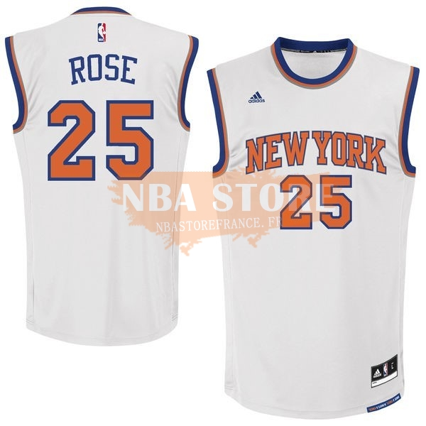 Maillot NBA New York Knicks NO.25 Derrick Rose Blanc