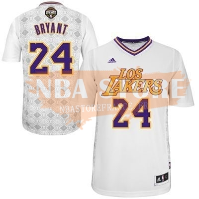 Maillot NBA Nuits Latine Los Angeles Lakers Manche Courte NO.24 Bryant Blanc