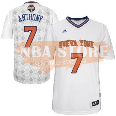 Maillot NBA Nuits Latine New York Knicks Manche Courte NO.7 Anthony Blanc